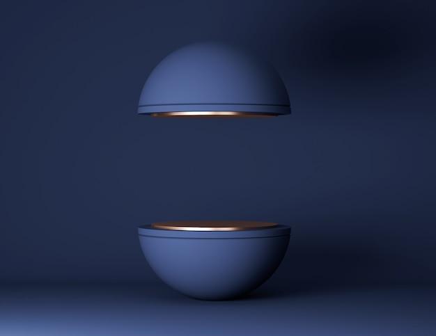 Scène minimale avec des formes géométriques. podium de sphère sur fond bleu. scène pour montrer produit cosmétique, vitrine, vitrine, vitrine.