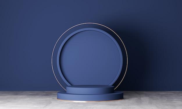 Scène minimale avec des formes géométriques. podiums sur fond bleu marine. scène pour montrer un produit cosmétique, vitrine