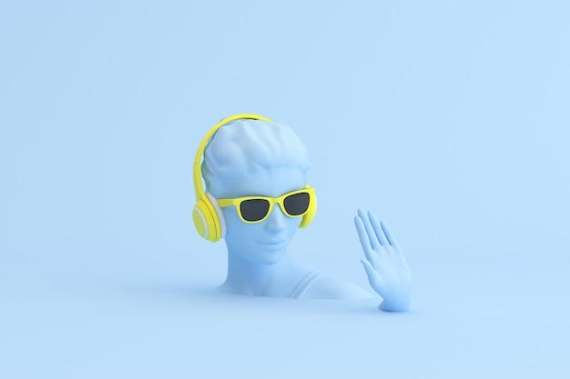 Scène minimale de lunettes de soleil et casque sur la sculpture de la tête humaine, concept de musique.