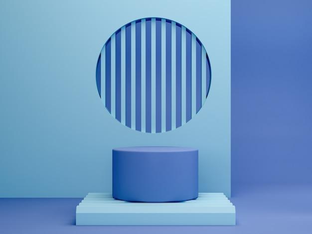 Scène minimale avec podium et fond abstrait. forme géométrique. scène de couleurs pastel bleu. rendu 3d minimal. scène aux formes géométriques et fond bleu. rendu 3d.