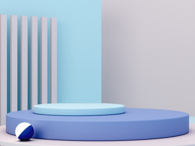 Scène minimale avec podium et fond abstrait. forme géométrique. scène de couleurs pastel bleu. rendu 3d minimal. scène aux formes géométriques et fond crème. rendu 3d.