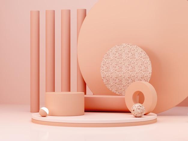 Scène minimale avec podium et fond abstrait. formes géométriques. scène de couleurs pastel. rendu 3d minimal. scène avec des formes géométriques et un fond texturé pour produit cosmétique. rendu 3d.