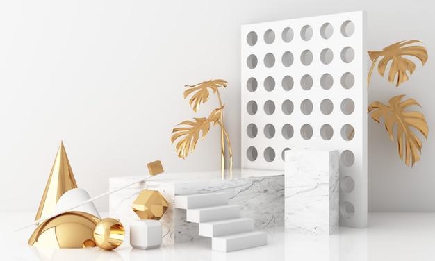 Scène minimale avec podium et fond abstrait. scène or et blanc. tendance pour les bannières de médias sociaux, la promotion, le salon des produits cosmétiques. rendu 3d intérieur de formes géométriques