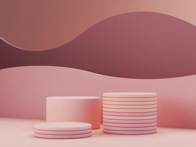 Scène minimale avec podium, formes géométriques et fond abstrait