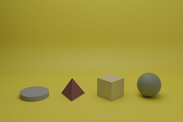Scène minimale de rendu 3d abstrait avec des objets géométriques multicolores sur fond gris