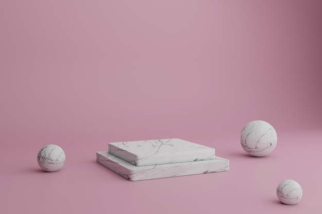 Scène minimale de rendu 3d abstrait avec des podiums en marbre et des boules sur fond rose vitrine vierge
