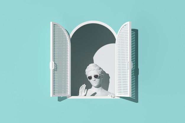 Scène minimale de sculpture de femmes dans une fenêtre blanche sur fond de mur vert, concept minimal, rendu 3d.