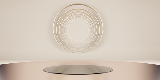 Scène minimaliste de plate-forme géométrique scène sur un podium de studio haut de gamme pour l'affichage des produits