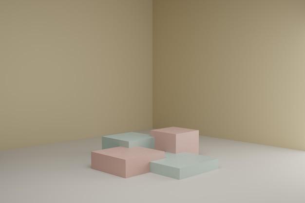 Scène de modélisation 3d avec des podiums carrés dans des couleurs pastel calmes