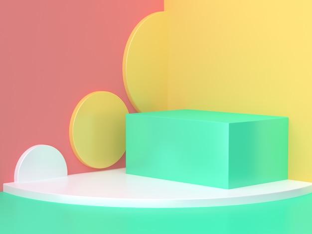 Scène de mur abstrait rose jaune vert abstraite rendu 3d