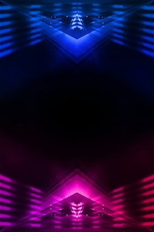 Scène de mur vide. réflexion de la rue sombre sur la chaussée mouillée. rayons des néons dans l'obscurité, des figures au néon, de la fumée. vue nocturne de la rue, de la ville. mur sombre abstrait. projecteur abstrait.
