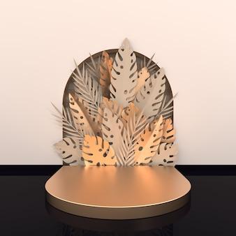 Scène murale avec arc, palmier en papier tropical, feuilles de monstera et cadre, plate-forme podium pour la présentation du produit