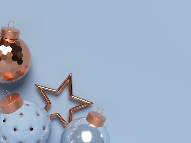 Scène de noël 3d avec boules décoratives et étoile. joyeux noel et bonne année. espace de copie. illustration de rendu 3d.