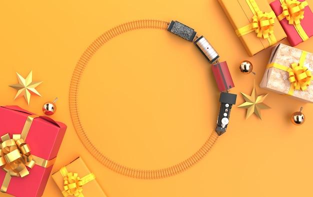 Scène de noël avec des cadeaux et un train sur une vue de dessus de fond jaune
