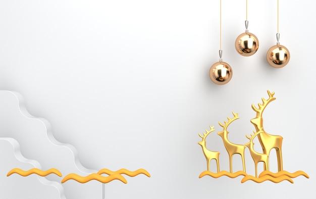 Scène de noël avec des cerfs dorés et des jouets en verre