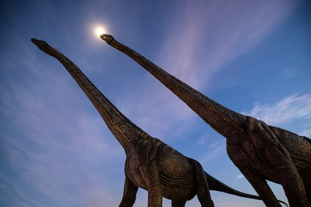 Scène de nuit tournée avec deux gros dinosaures et le clair de lune avec fond de ciel de nuages