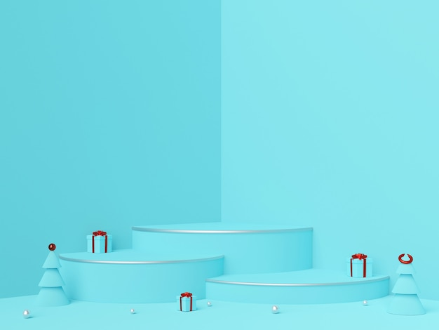 Scène d'ornements de noël et podium pour publicité produit, rendu 3d