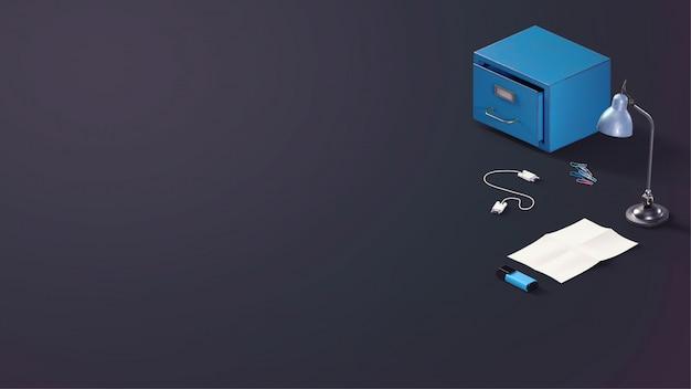 Scène de perspective latérale d'un dessus de bureau avec des articles de papeterie, plat gris foncé bleu