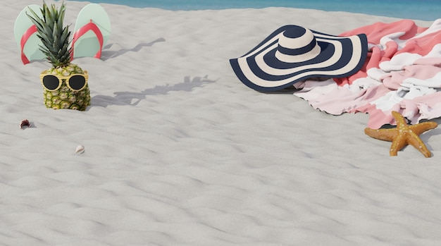 Scène de plage avec des accessoires pour le rendu 3d du papier peint