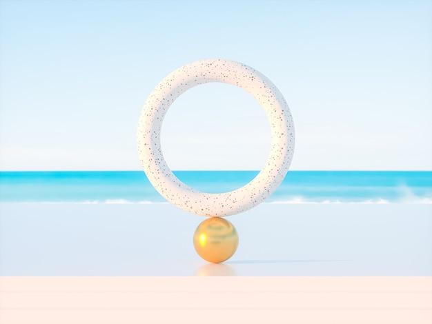 Scène de plage d'été abstraite avec un fond de podium