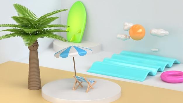 Scène de la plage de la mer abstraite minimale noix de coco, palmier soleil nuage planche de surf été vacances voyage mer plage rendu 3d style de bande dessinée