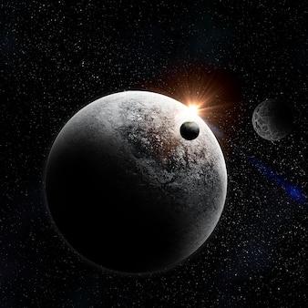 Scène avec des planètes