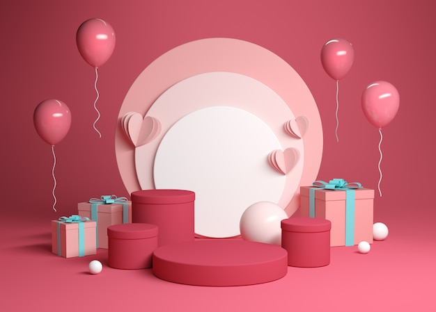 Scène de plate-forme de célébration abstraite avec boîte-cadeau rendu 3d