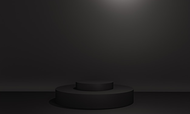 Scène avec podium de couleur noire pour une présentation de maquette dans un style minimaliste avec espace de copie, conception d'arrière-plan abstrait de rendu 3d