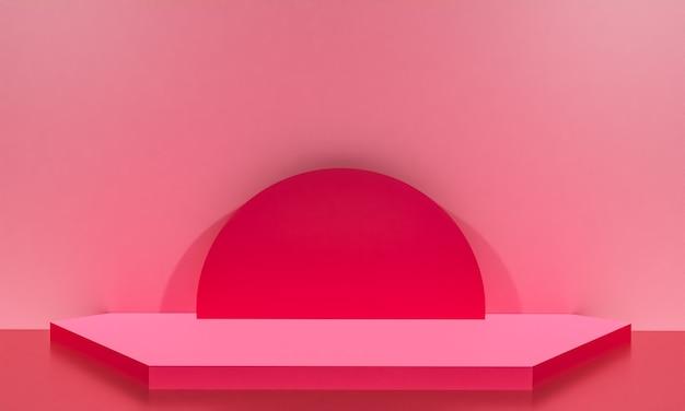 Scène avec podium de couleur rose pour une présentation de maquette dans un style minimaliste avec espace de copie, conception d'arrière-plan abstrait de rendu 3d