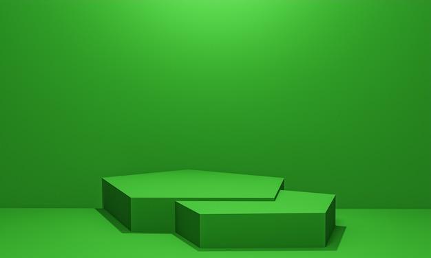 Scène avec podium de couleur verte pour une présentation de maquette dans un style minimaliste avec espace de copie, conception d'arrière-plan abstrait de rendu 3d