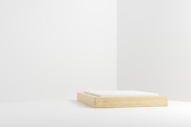Scène de podium cube en bois sur fond blanc.