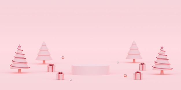 Scène de podium avec décorations de noël et cadeaux rendu 3d