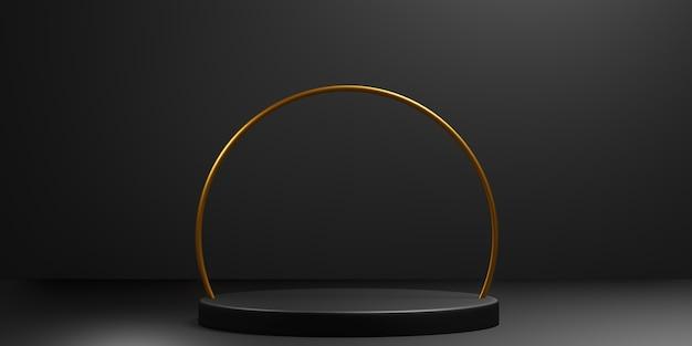 Scène de podium élégante abstraite géométrique noire et dorée pour la présentation du produit. illustration 3d