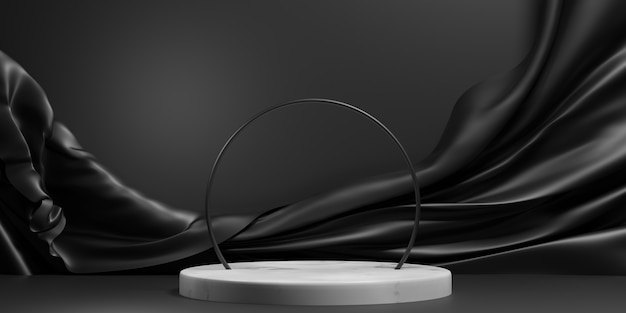 Scène de podium élégante géométrique abstraite en noir et blanc pour la présentation du produit. illustration 3d