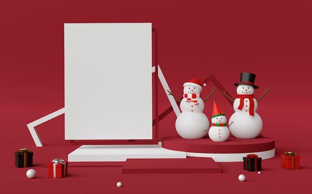 Scène de podium et espace copie avec rendu 3d de bonhomme de neige