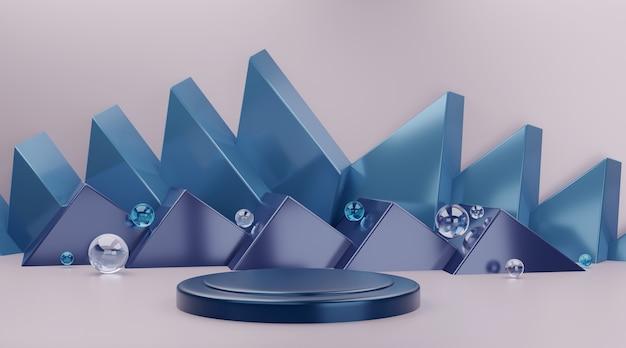 Scène de podium géométrique bleue pour l'affichage du produit.