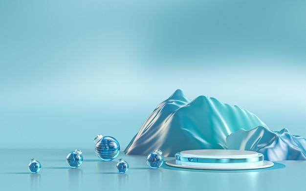 Scène de podium de luxe de saison d'hiver pour le rendu 3d de présentation de produit