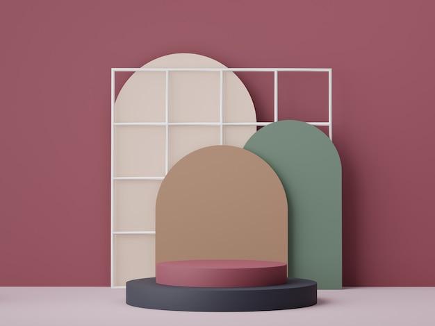 Scène de podium minimale pour les produits simulés avec un fond de couleur terre.