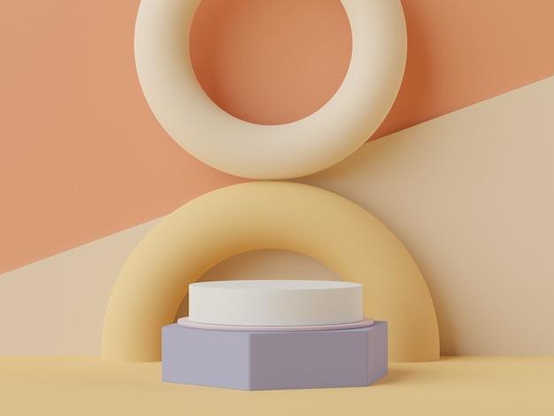 Scène de podium minimale pour les produits simulés avec un fond de ton terre.