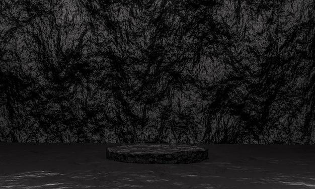 Scène avec podium en pierre de couleur noire pour une présentation de maquette dans un style minimaliste avec espace de copie, conception d'arrière-plan abstrait de rendu 3d