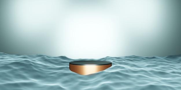 Scène de podium de produit bleu sur l'illustration 3d de l'eau
