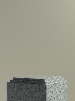 Scène ou podium de produit en cube de marbre gris avec fond de mur marron clair pour bannière ou promotion de produit. illustration 3d