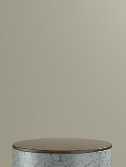 Scène ou podium de produit rond en marbre gris avec fond de mur marron clair pour bannière de produit ou promo. illustration 3d