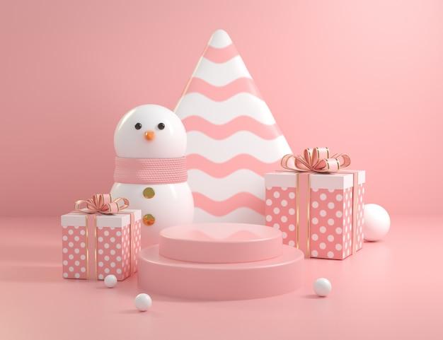 Scène de podium rose de noël avec bonhomme de neige et collections de coffrets cadeaux rendu 3d