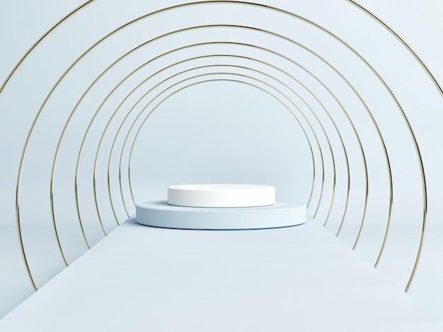 Scène de podium vide avec une forme géométrique, fond bleu, rendu 3d, illustration 3d
