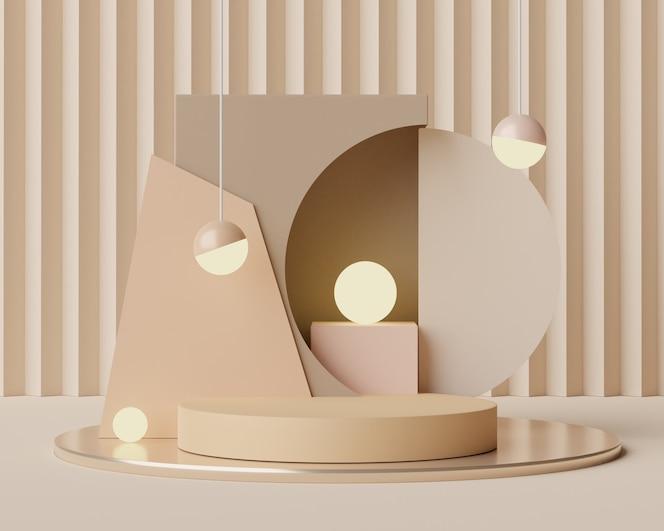 Scène de podium vide avec des formes géométriques pour l'affichage des cosmétiques et des produits.