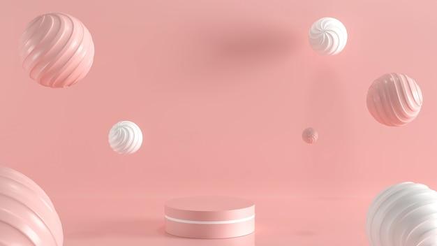 Scène de podium vide minimale avec des formes géométriques pour le produit avec un fond de couleur pastel rose