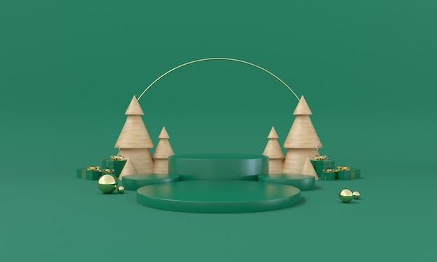 Scène de produit à thème vert de noël avec arbre et étoiles pour illustration 3d promo ou bannière photo premium