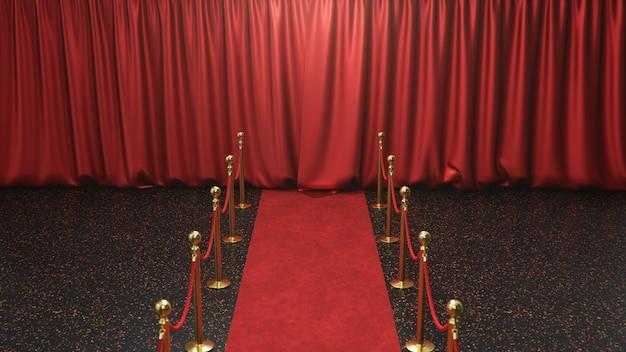 Scène de récompenses avec rideaux rouges fermés. tapis de velours rouge entre les barrières dorées. scène de théâtre