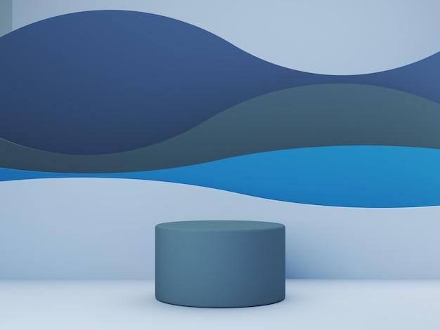 Scène de rendu 3d avec des formes géométriques bleues et des courbes en arrière-plan pour produit cosmétique